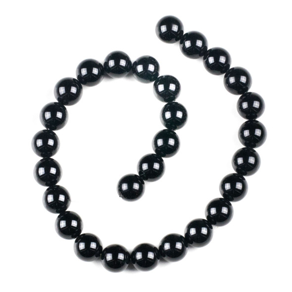 Black Agate 14mm Round Beads - 15 inch strand