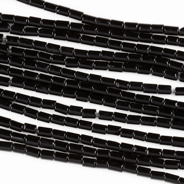Black Agate 4x6mm Tube Beads - 15.5 inch strand