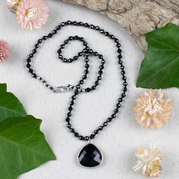 Knotted Onyx & Spinel Finished Necklace