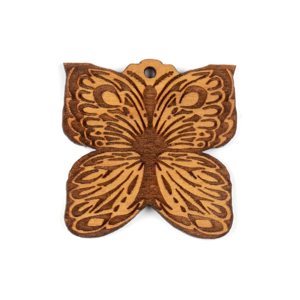Handmade Wooden 38mm Butterfly Focal - 1 per bag
