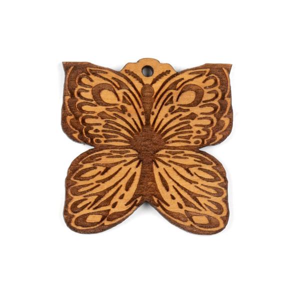Handmade Wooden 38mm Butterfly Focal - 1 per bag