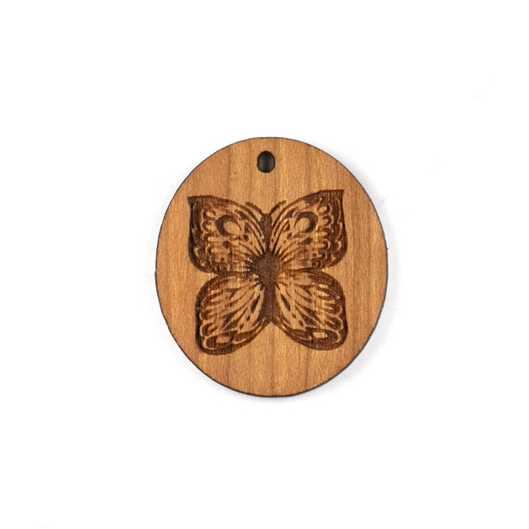 Handmade Wooden 29x32mm Oval Butterfly Focal - 1 per bag
