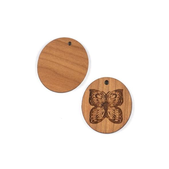 Handmade Wooden 29x32mm Oval Butterfly Focal - 1 per bag