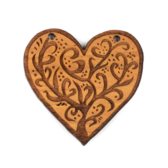 Handmade Wooden 45x47mm Large Heart Tree Focal with 2 holes - 1 per bag