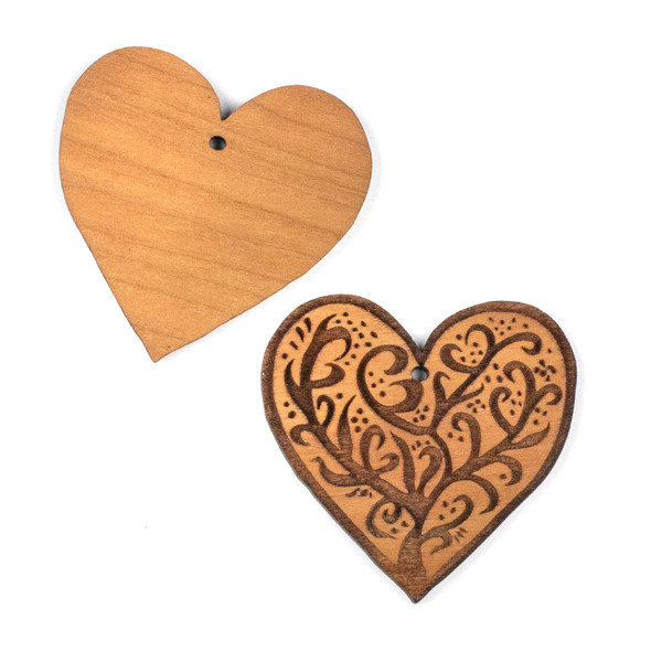Handmade Wooden 45x47mm Large Heart Tree Focal with 1 hole - 1 per bag