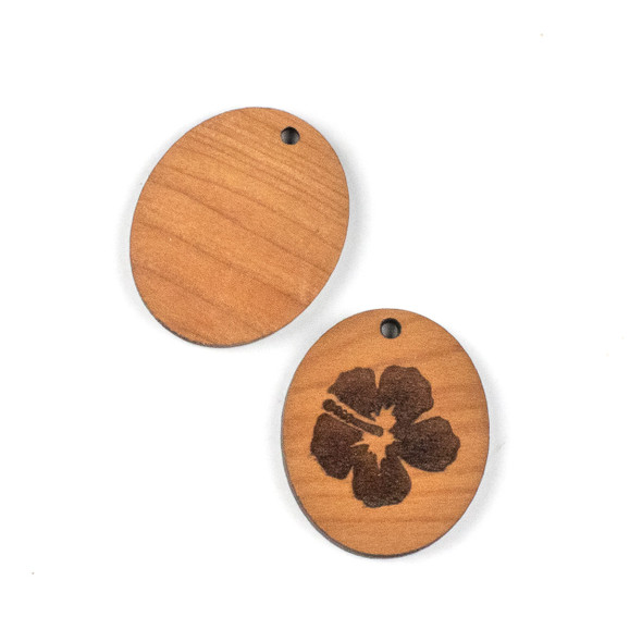 Handmade Wooden 26x30mm Hibiscus Flower Oval Focal - 1 per bag