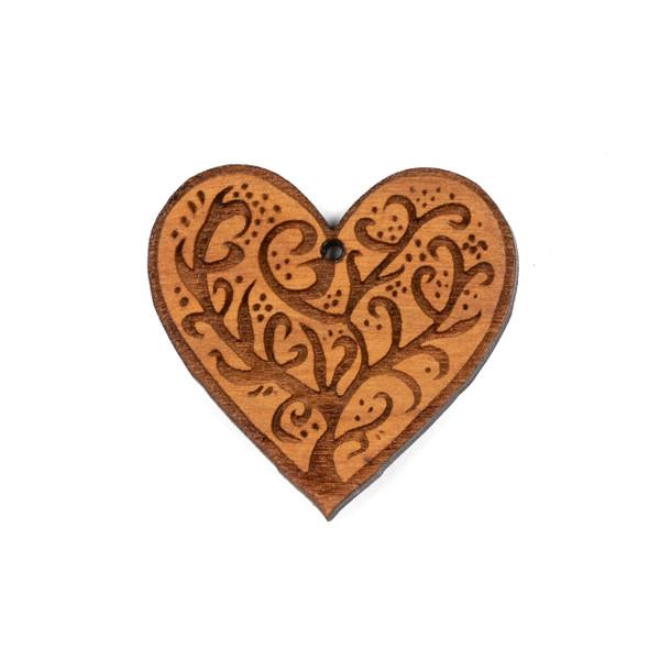 Handmade Wooden 37x38mm Medium Heart Tree Focal with 1 hole - 1 per bag