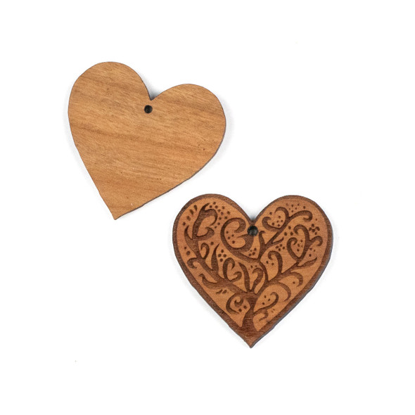 Handmade Wooden 37x38mm Medium Heart Tree Focal with 1 hole - 1 per bag