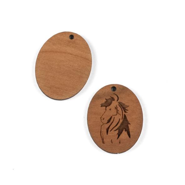 Handmade Wooden 24x29mm Mustang Horse Oval Focal - 1 per bag