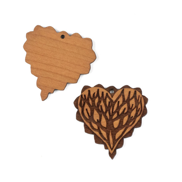 Handmade Wooden 40mm Scalloped Viney Heart Focal - 1 per bag