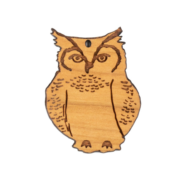 Handmade Wooden 34x44mm Light Great Horned Owl Pendant -  1 per bag