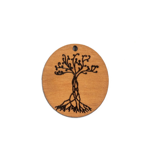 Handmade Wooden 29x32mm Entwined Tree Oval Focal - 1 per bag