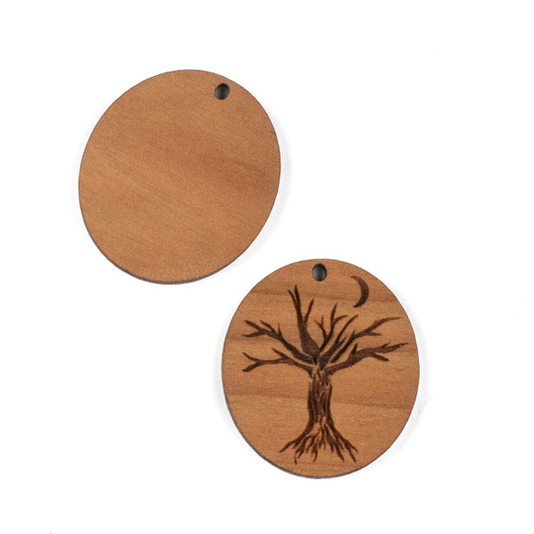 Handmade Wooden 29x32mm Tree and Crescent Moon Oval Pendant - 1 per bag