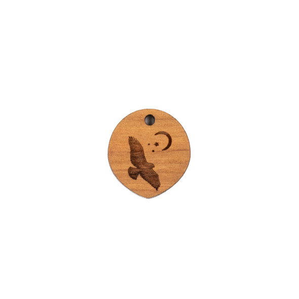 Handmade Wooden 18x20mm Hawk Moon Pointed Oval Focal - 1 per bag