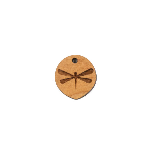 Handmade Wooden 18x20mm Dragonfly Pointed Oval Focal - 1 per bag