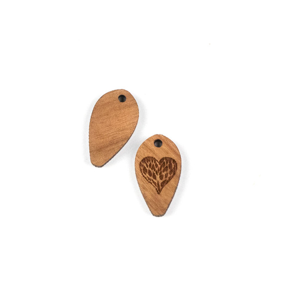 Handmade Wooden 12x22mm Viney Heart Dew Drop Focal - 1 per bag