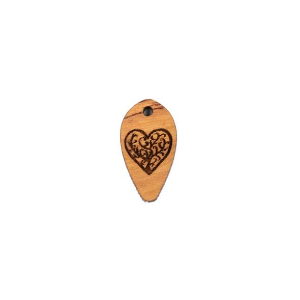 Handmade Wooden 12x22mm Heart Tree Dew Drop Focal - 1 per bag