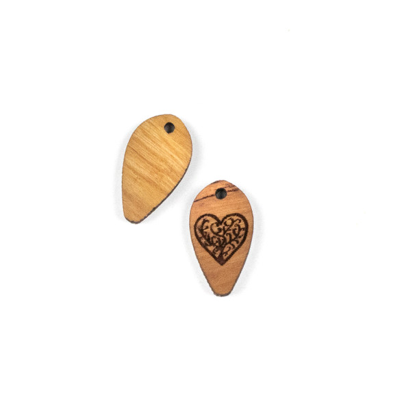 Handmade Wooden 12x22mm Heart Tree Dew Drop Focal - 1 per bag
