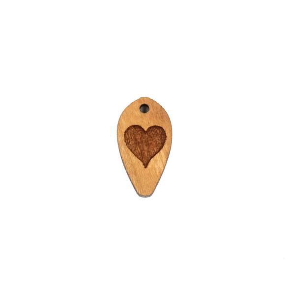 Handmade Wooden 12x22mm Solid Heart Dew Drop Focal - 1 per bag