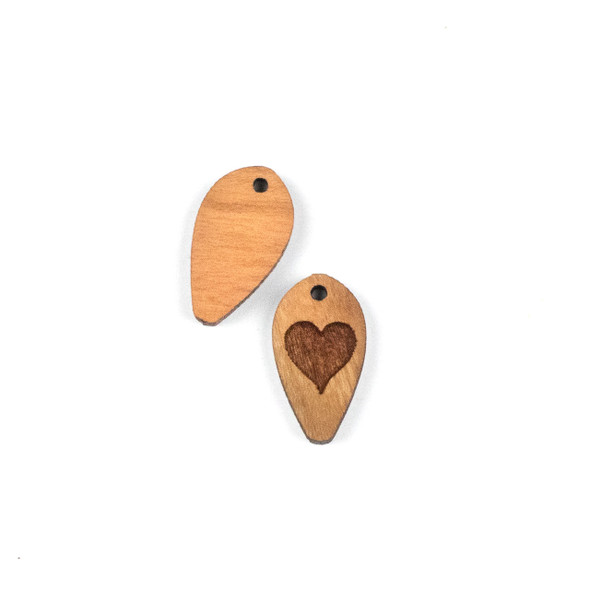 Handmade Wooden 12x22mm Solid Heart Dew Drop Focal - 1 per bag