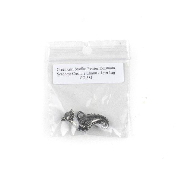 Green Girl Studios Pewter 15x30mm Seahorse Creature Charm - 1 per bag