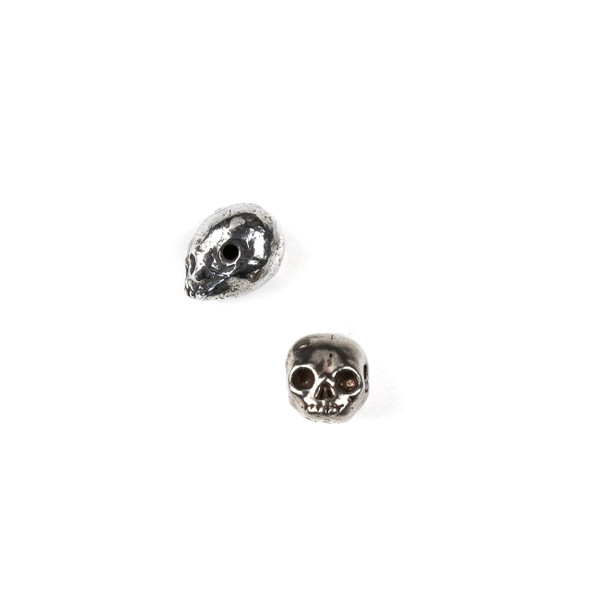 Green Girl Studios Pewter 9x13mm Tiny Skull Bead - 1 per bag