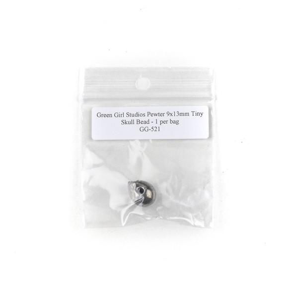 Green Girl Studios Pewter 9x13mm Tiny Skull Bead - 1 per bag