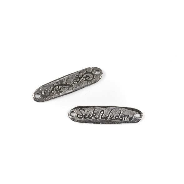 "Green Girl Studios Pewter 8x31mm ""Seek Wisdom"" Link - 1 per bag"