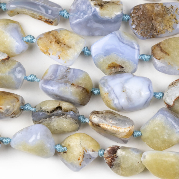Blue Chalcedony 15-20x16-30mm Nugget Beads - 16 inch knotted strand