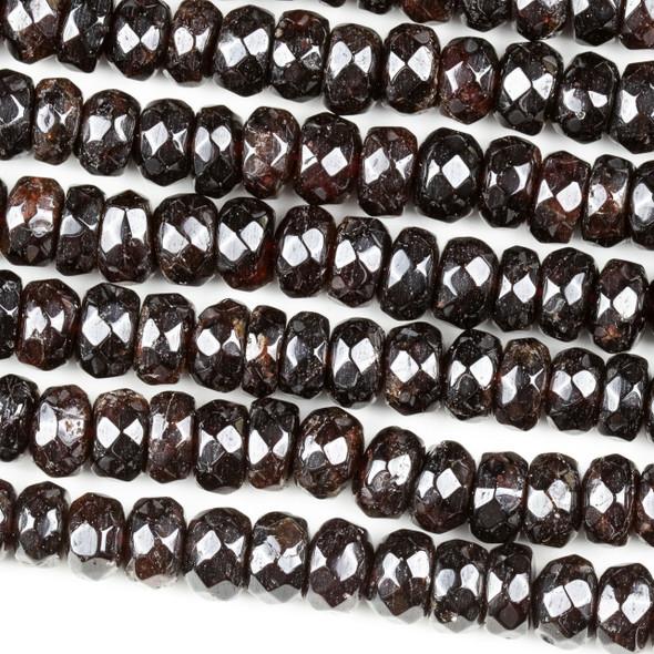 Garnet 5-6x9mm Faceted Heishi Beads - 15 inch strand
