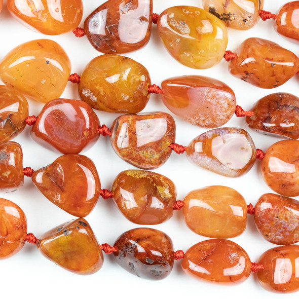 Madagascar Carnelian 10-24mm Graduated Nugget Beads - 16 inch knotted strand