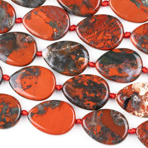 Brecciated Jasper 22x30mm Teardrop Beads - 15.5 inch strand