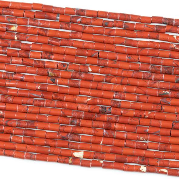 Red Jasper 3.5x5.5mm Tube Beads - 8 inch strand