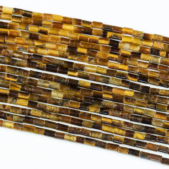 Yellow Tigereye 3.5x5.5mm Tube Beads - 8 inch strand