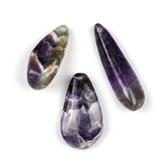 Chevron Amethyst 25x65mm Top Drilled Free Form Pendant - 1 per bag