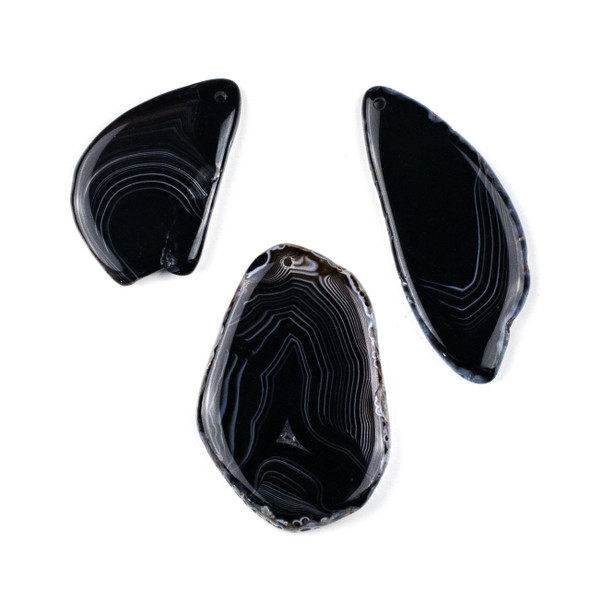 Black Agate/Sardonyx 35x55mm Top Drilled Free Form Pendant -  1 per bag
