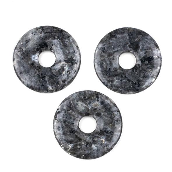 Black Labradorite/Larvikite 50mm Donut Pendant -  1 per bag