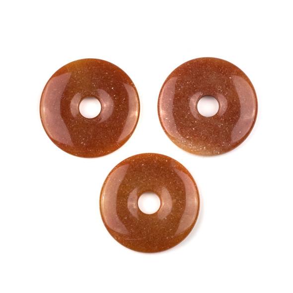 Peach Aventurine 45mm Donut Pendant -  1 per bag
