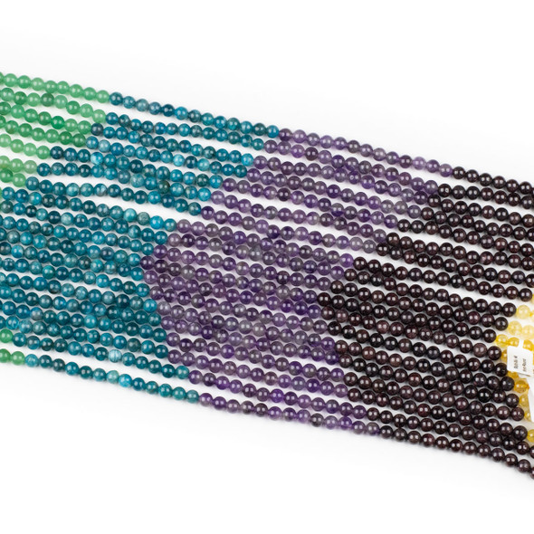 Jewel Tone Gemstone Artisan Strand - 6mm Round Beads, 15.5 inch strand, mix #4