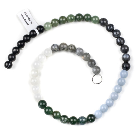 Forest Mist Gemstone Artisan Strand - 8mm Round Beads, 15 inch strand, mix #1