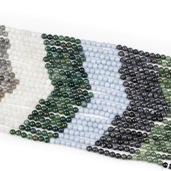 Forest Mist Gemstone Artisan Strand - 8mm Round Beads, 15 inch strand, mix #1