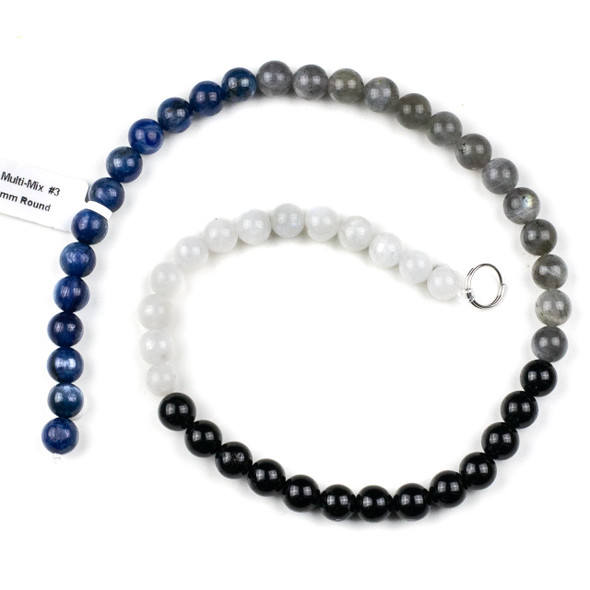 Starry Night Gemstone Artisan Strand - 8mm Round Beads, 16 inch strand, mix #3