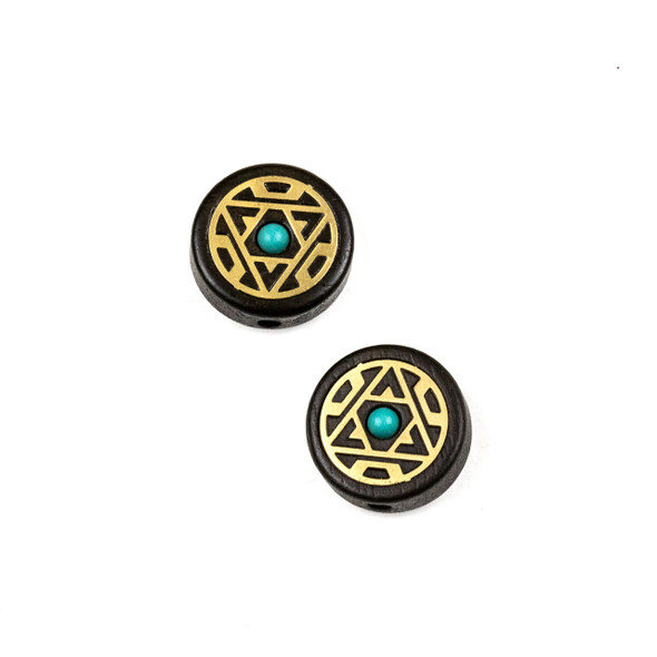 Carved Wood Focal Bead - 16mm Sandalwood Coin with Brass Triangle and Blue Howlite Center, 1 per bag