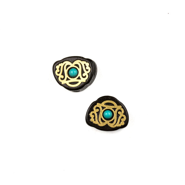 Carved Wood Focal Bead - 12x15mm Sandalwood Bead with Brass Design and Blue Howlite Center, 1 per bag