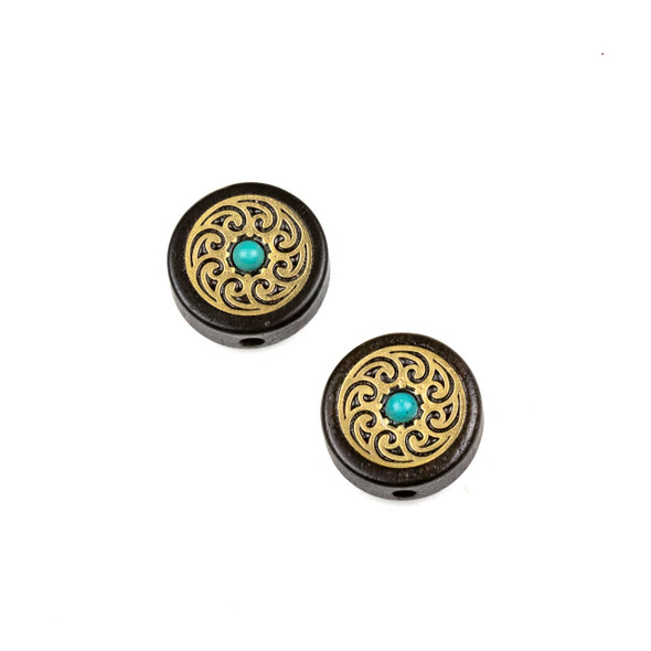 Carved Wood Focal Bead - 16mm Sandalwood Coin with Brass Small Waves and Blue Howlite Center, 1 per bag