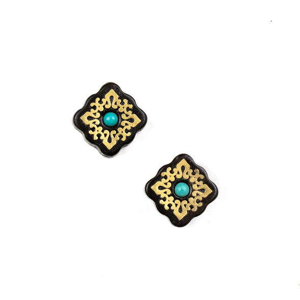 Carved Wood Focal Bead - 13mm Sandalwood Square with Brass Design and Blue Howlite Center, 1 per bag