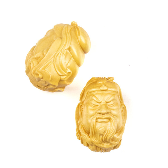 Carved Wood Focal Bead - 23x30mm Boxwood Old Man of Longevity, 1 per bag