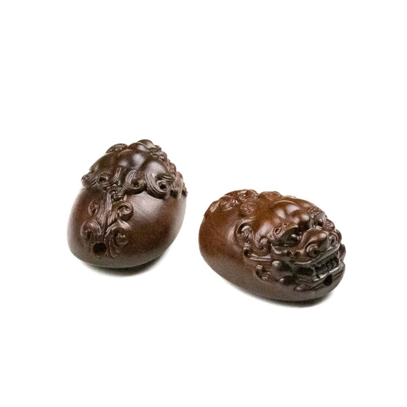 Carved Wood Focal Bead - 21x30mm Sandalwood Rounded Chinese Dragon, 1 per bag