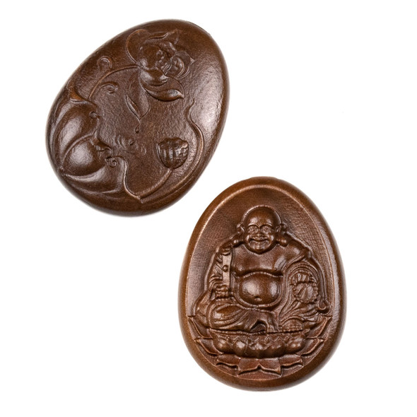 Carved Wood Focal Bead - 20x32mm Sandalwood Oval with Happy Buddha, 1 per bag