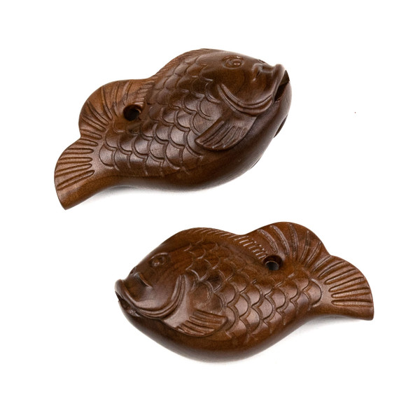 Carved Wood Focal Bead - 24x45mm Sandalwood Koi Fish, 1 per bag